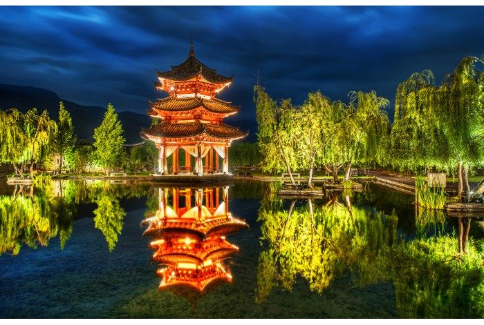 Модульная картина Вечерний Китайский парк